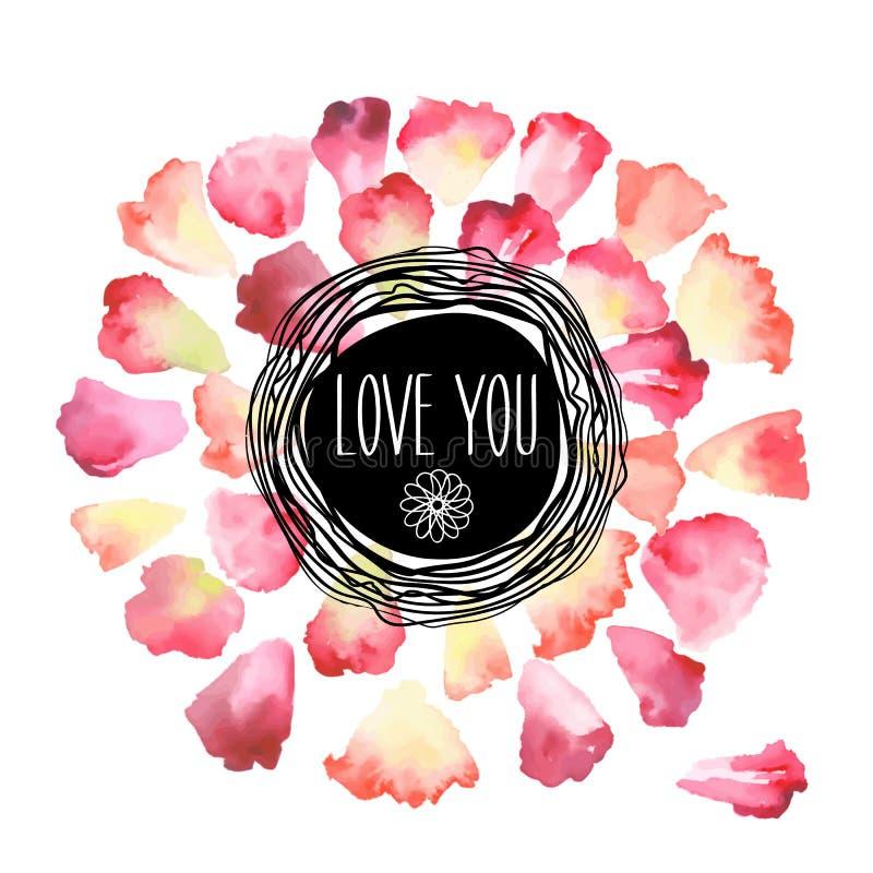 Cartolina d'auguri d'annata dell'acquerello con i petali floreali Amivi con il posto per il vostro testo royalty illustrazione gratis