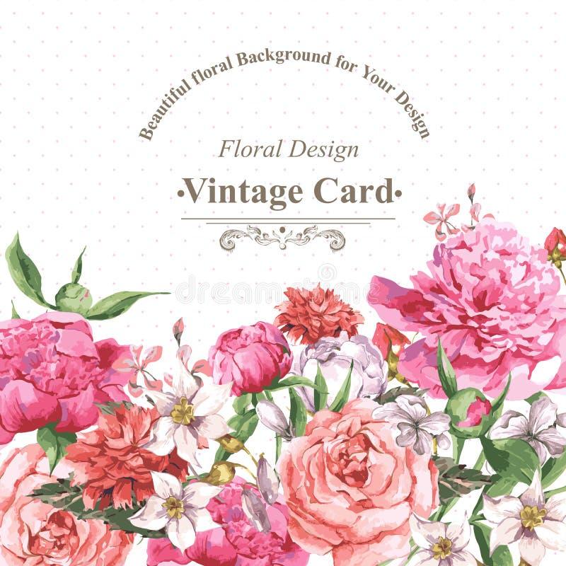 Cartolina d'auguri d'annata dell'acquerello con la fioritura royalty illustrazione gratis