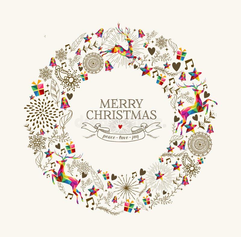 Cartolina d'auguri d'annata della corona di Natale illustrazione di stock