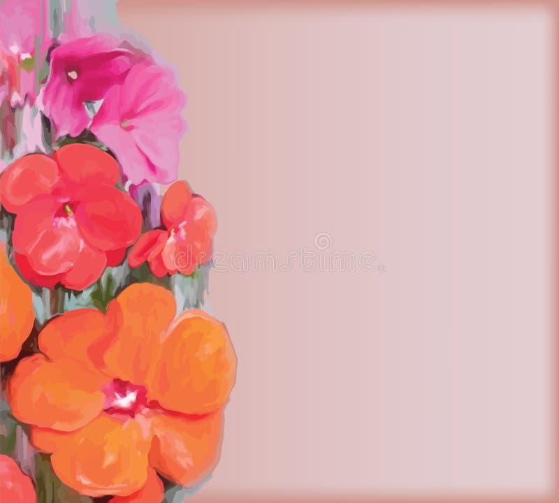 Cartolina d'auguri d'annata floreale con i fiori stilizzati illustrazione di stock