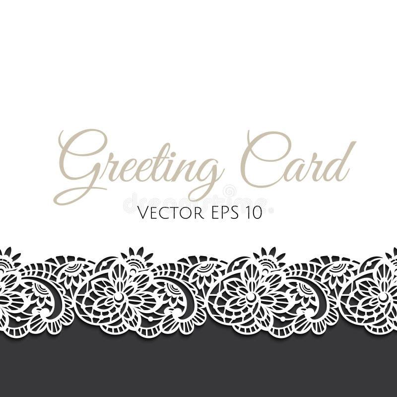 Cartolina d'auguri decorata con pizzo floreale illustrazione di stock