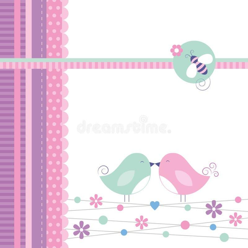 Cartolina d'auguri degli uccelli di amore royalty illustrazione gratis
