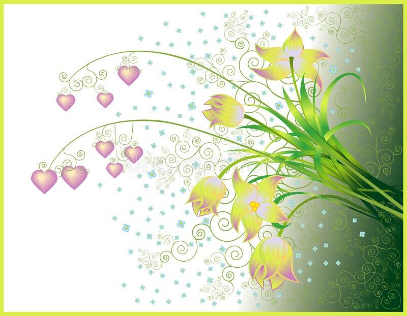 Cartolina d'auguri dei biglietti di S. Valentino con il mazzo illustrazione di stock
