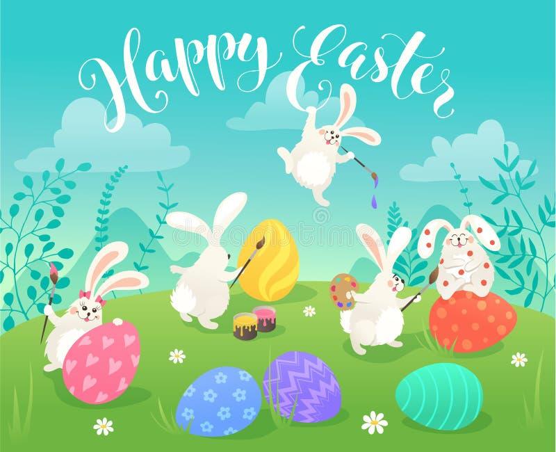 Cartolina d'auguri dei coniglietti di pasqua royalty illustrazione gratis
