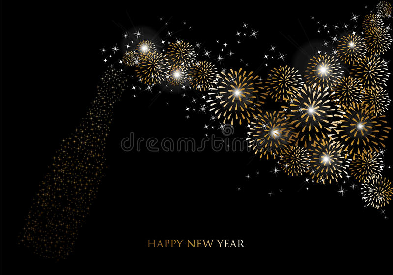 Cartolina d'auguri 2014 dei fuochi d'artificio del champagne del buon anno illustrazione vettoriale