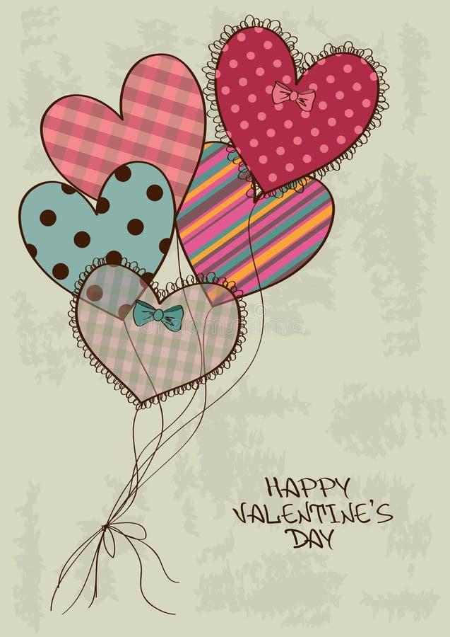 Cartolina d'auguri del biglietto di S. Valentino con gli aerostati del cuore illustrazione di stock