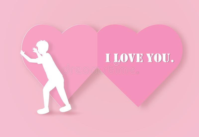 Cartolina d'auguri del biglietto di S. Valentino con un cuore di carta aperto del ragazzo royalty illustrazione gratis