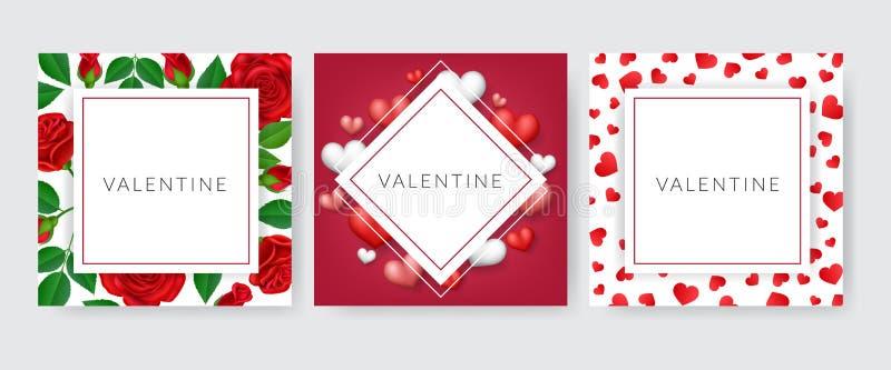 Cartolina d'auguri del biglietto di S. Valentino messa con la rosa ed il cuore illustrazione di stock