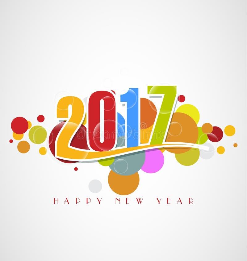 Cartolina d'auguri del buon anno 2017 illustrazione di stock