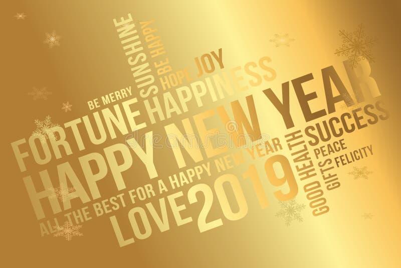 Cartolina d'auguri 2019 del buon anno Augura ogni successo, la felicità, la gioia, il meglio di tutto, il buona salute, amore illustrazione vettoriale