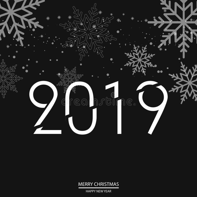 Cartolina d'auguri del buon anno con i fiocchi di neve di caduta sul nero Vettore illustrazione di stock