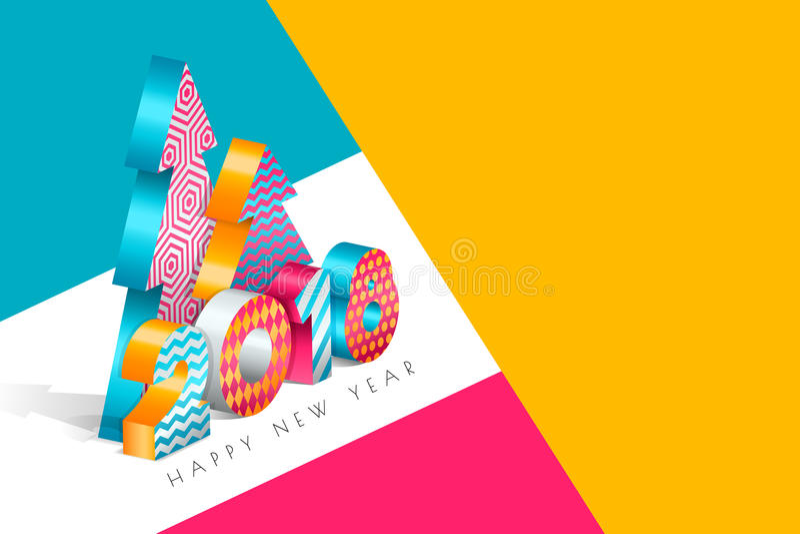 Cartolina d'auguri 2018 del buon anno con i numeri multicolori ed albero di Natale nello stile isometrico 3d illustrazione vettoriale