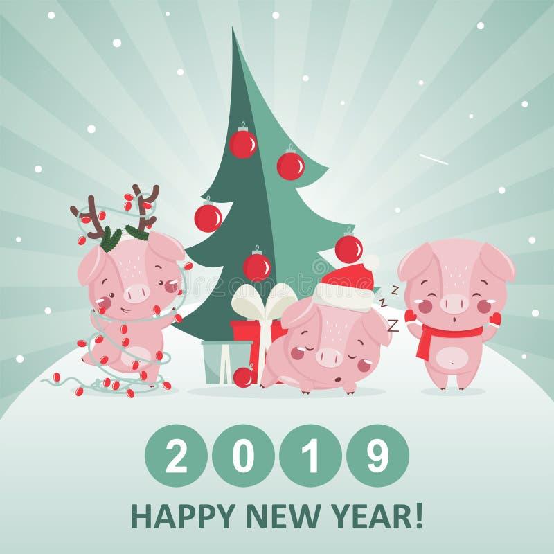 Cartolina d'auguri del buon anno con il maiale sveglio royalty illustrazione gratis
