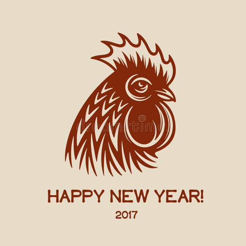 Cartolina d'auguri del buon anno con la testa ed il testo rossi del gallo 2017 Illustrazione dell'annata di vettore illustrazione vettoriale