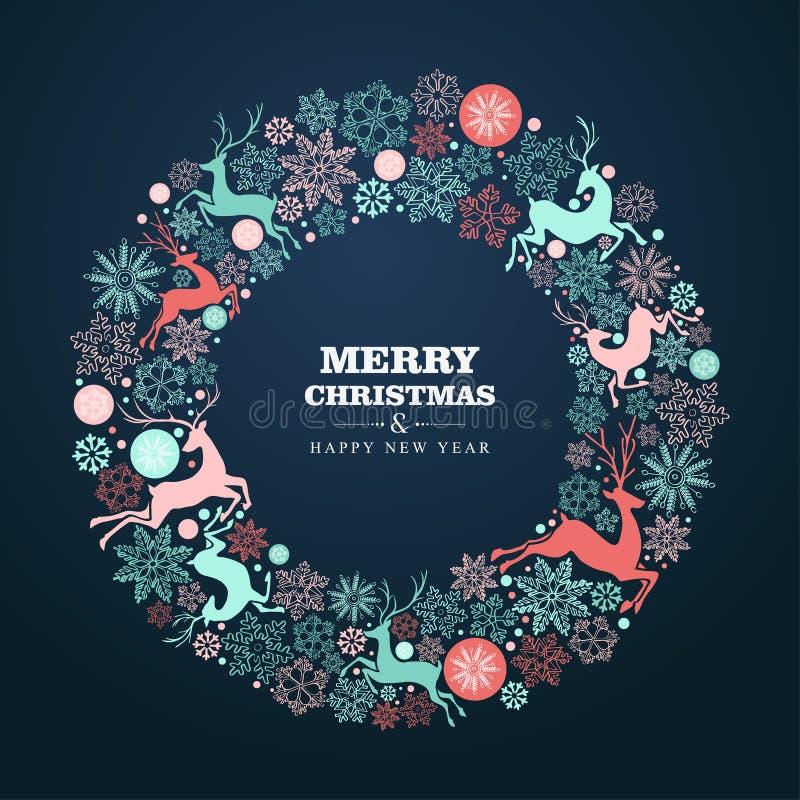 Cartolina d'auguri del buon anno e di Buon Natale illustrazione di stock