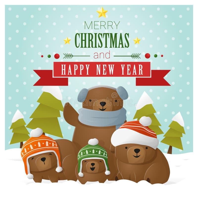 Cartolina d'auguri del buon anno e di Buon Natale con la famiglia dell'orso illustrazione vettoriale