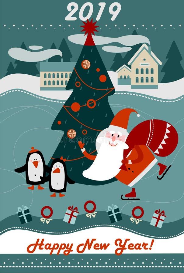 Cartolina d'auguri 2019 del buon anno e di Buon Natale royalty illustrazione gratis