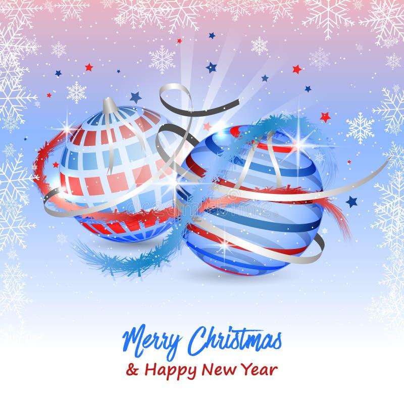 Cartolina d'auguri del buon anno e di Buon Natale con i fiocchi di neve, le stelle, i nastri, le bagattelle ed i coriandoli Diseg royalty illustrazione gratis