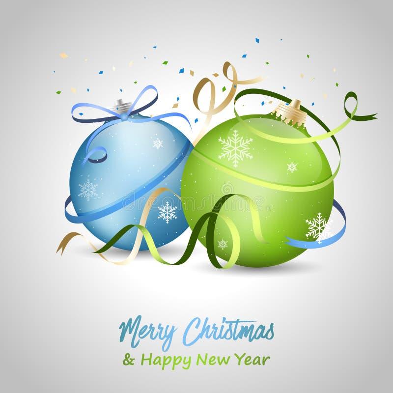 Cartolina d'auguri del buon anno e di Buon Natale con le bagattelle, l'arco, i fiocchi di neve ed i nastri blu e verdi illustrazione di stock