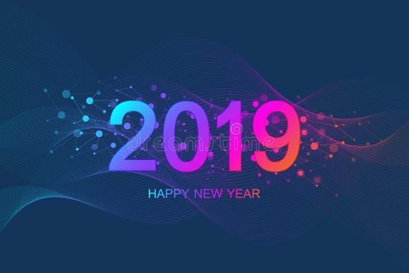 Cartolina d'auguri 2019 del buon anno e di Buon Natale Modello futuristico moderno per 2019 Flusso delle onde, linee, particelle illustrazione vettoriale