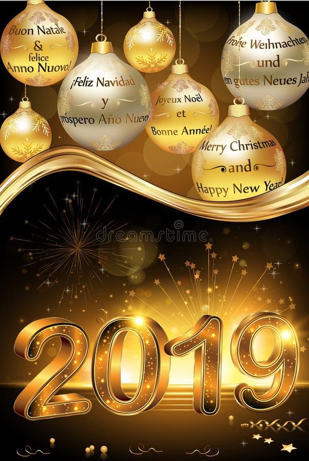 Cartolina d'auguri 2019 del buon anno e di Buon Natale per le società royalty illustrazione gratis
