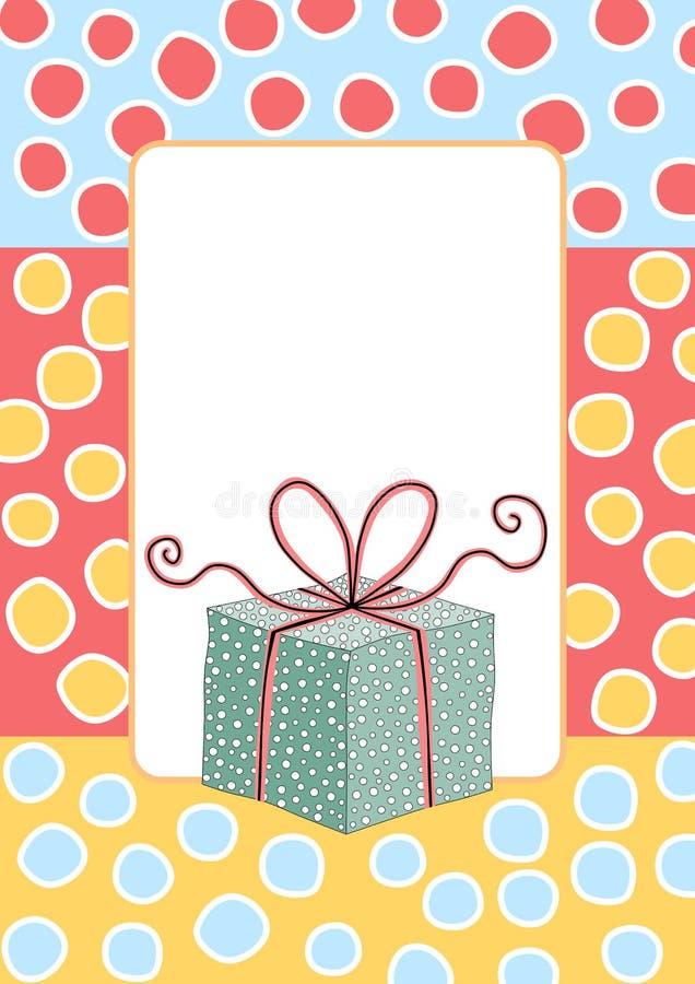 Cartolina d'auguri del contenitore di regalo di compleanno illustrazione vettoriale
