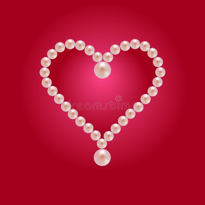 Cartolina d'auguri del cuore della perla fotografie stock