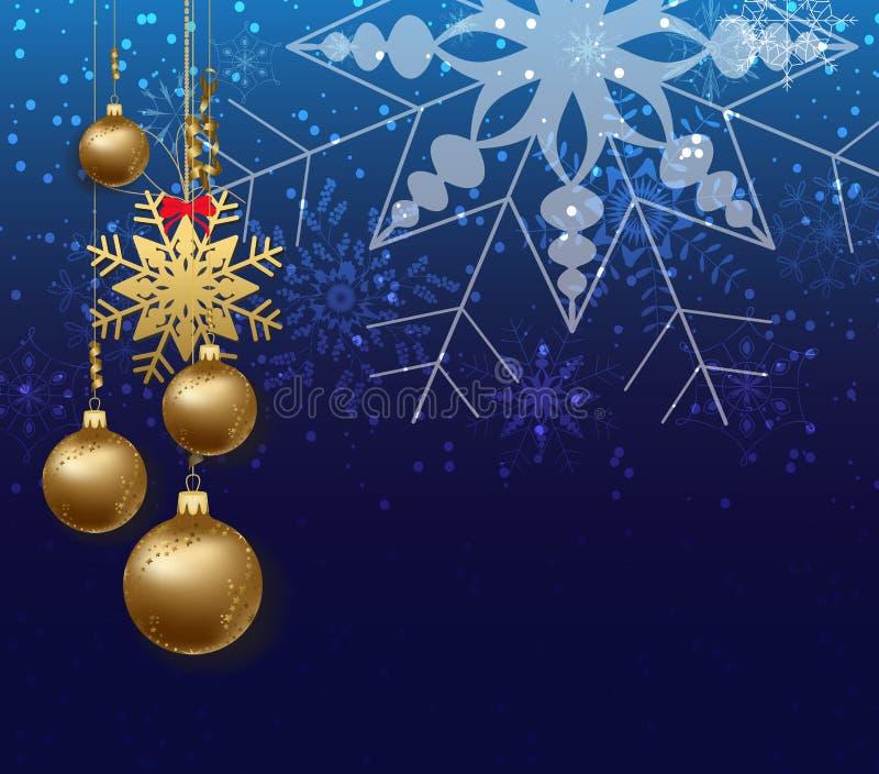 Cartolina d'auguri del fondo di Buon Natale e del buon anno con il fiocco di neve illustrazione vettoriale