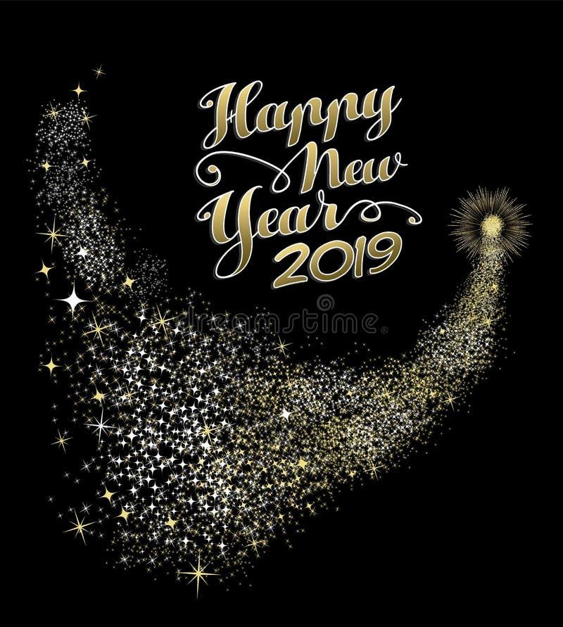 Cartolina d'auguri 2019 del fuoco d'artificio dell'oro del buon anno illustrazione di stock