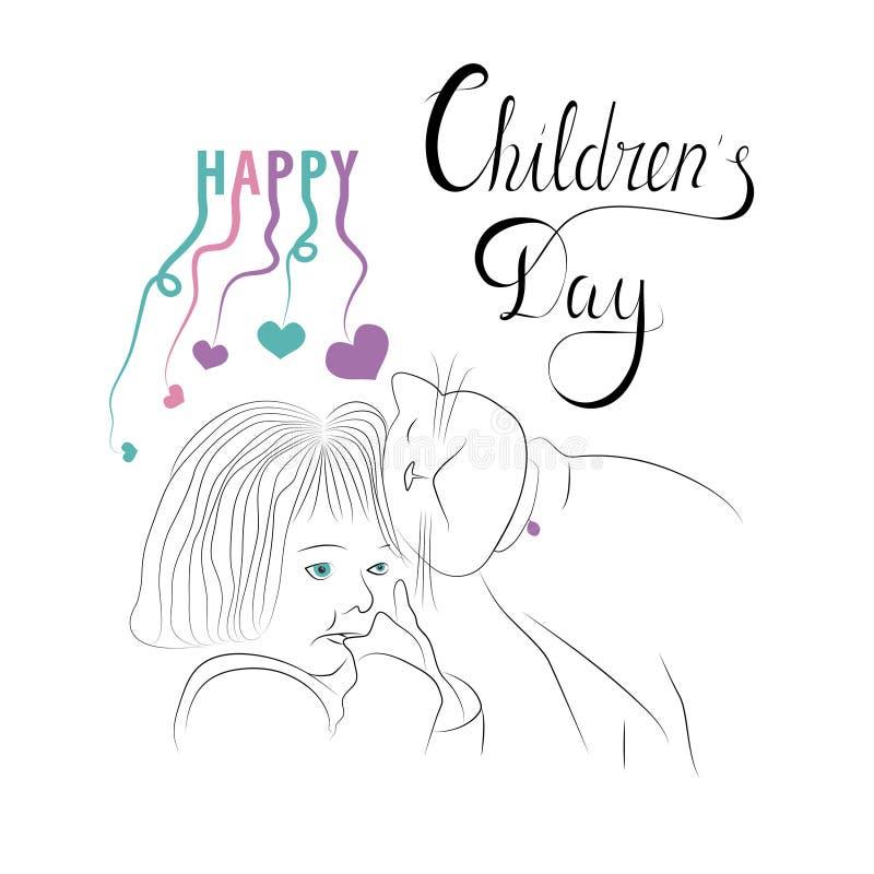Cartolina d'auguri del giorno dei bambini felici Manifesti, alette di filatoio illustrazione vettoriale