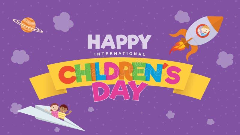 Cartolina d'auguri del giorno dei bambini internazionali felici Lettere colorate su un nastro giallo con un volo del bambino su u illustrazione di stock