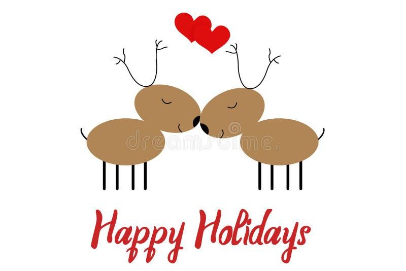 Cartolina d'auguri del nuovo anno con estratto di due cervi, isolato su bianco Buon per l'insegna del partito di festa di Natale, illustrazione vettoriale