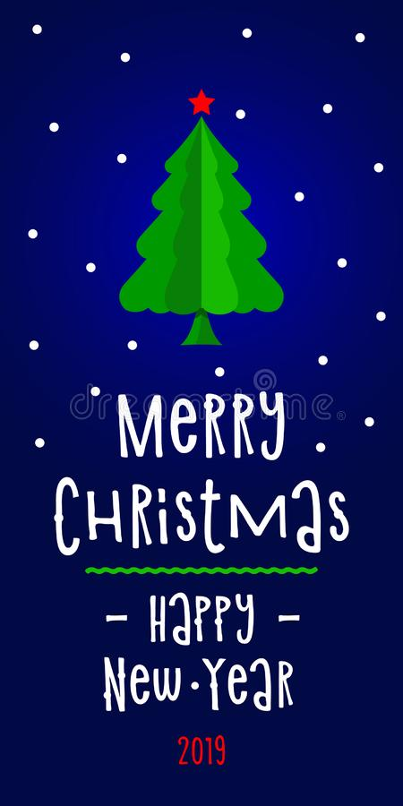 Cartolina d'auguri del nuovo anno con l'albero astratto bianco e Buon Natale e buon anno delle iscrizioni royalty illustrazione gratis