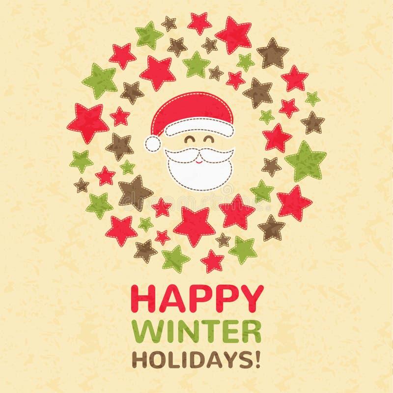 Cartolina d'auguri del nuovo anno con la corona di Natale royalty illustrazione gratis