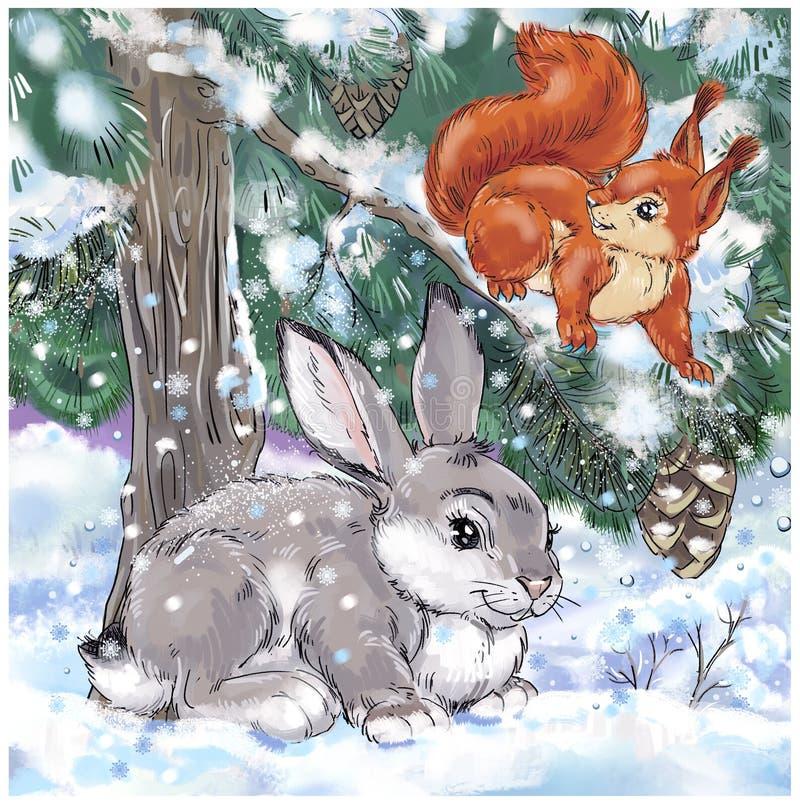 Cartolina d'auguri del nuovo anno con la lepre e lo scoiattolo sotto la neve illustrazione di stock