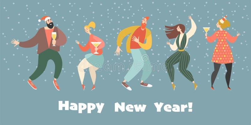 Cartolina d'auguri del nuovo anno con le ragazze ed i ragazzi ballanti royalty illustrazione gratis
