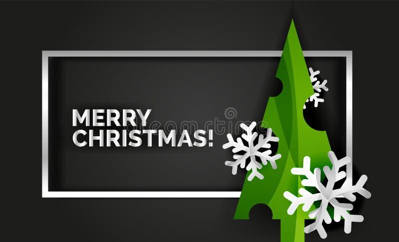 Cartolina d'auguri del nuovo anno di progettazione dell'albero di Natale illustrazione vettoriale