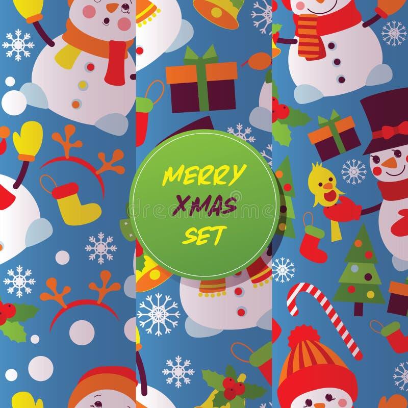 Cartolina d'auguri del nuovo anno di vettore del pupazzo di neve di Buon Natale con l'albero di natale del carattere dell'neve-uo illustrazione vettoriale