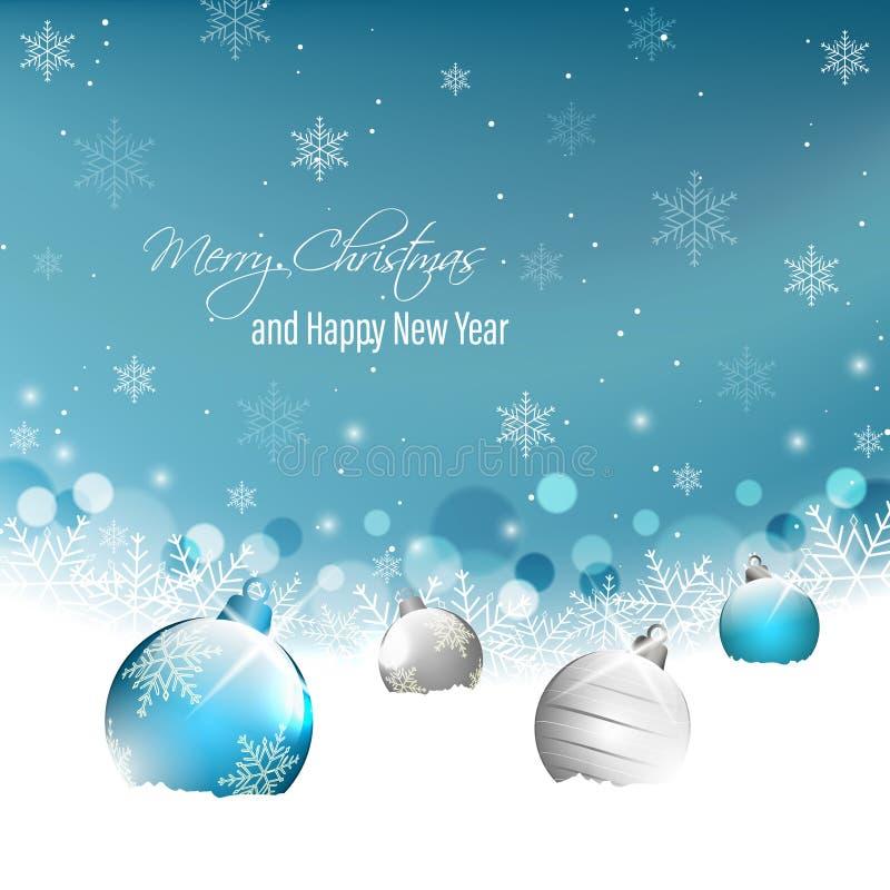 Cartolina d'auguri del nuovo anno e di Natale con le bagattelle di natale su neve e sui fiocchi di neve illustrazione di stock