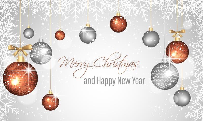 Cartolina d'auguri del nuovo anno e di Natale con le bagattelle, la struttura dei fiocchi di neve e le stelle d'attaccatura decor royalty illustrazione gratis