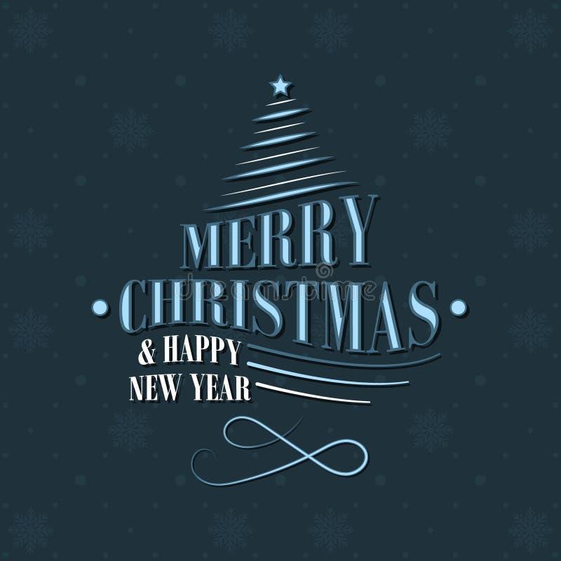 Cartolina d'auguri del nuovo anno e di Natale con le forme decorative, l'albero di Natale, la stella ed il modello dei fiocchi di illustrazione di stock