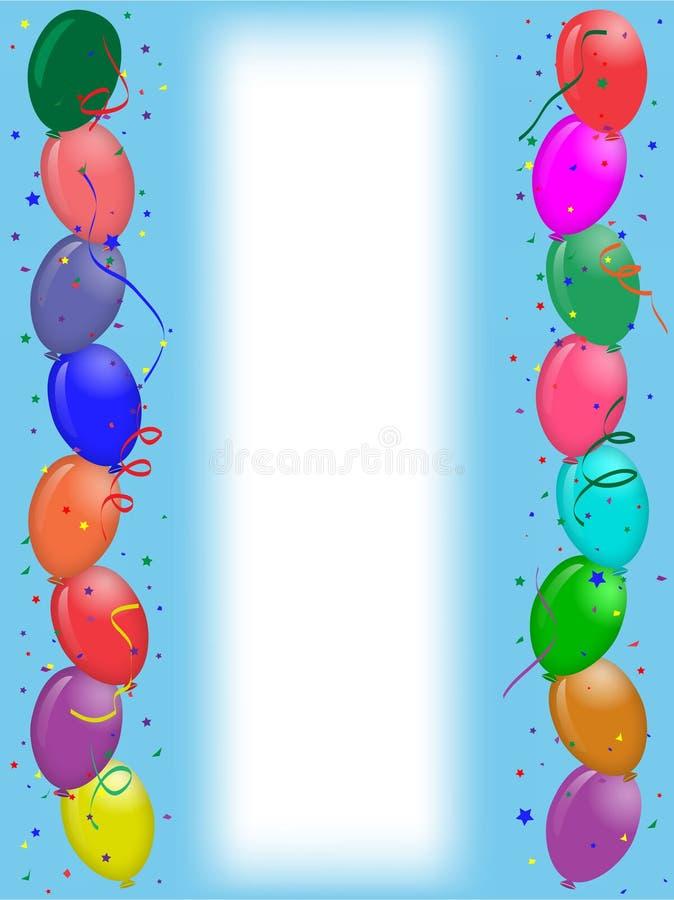 Cartolina d'auguri del partito con gli aerostati illustrazione di stock