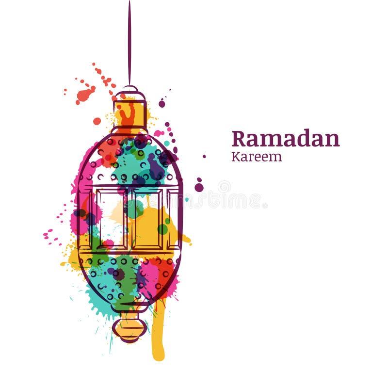 Cartolina d'auguri del Ramadan con la lanterna tradizionale dell'acquerello Fondo dell'acquerello di Ramadan Kareem royalty illustrazione gratis