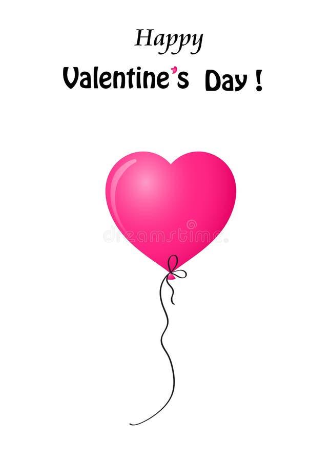 Cartolina d'auguri del ` s del biglietto di S. Valentino con il pallone rosa su fondo bianco illustrazione di stock