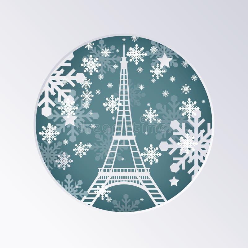 Cartolina d'auguri del taglio della carta di Natale con la torre Eiffel a Parigi Fra royalty illustrazione gratis