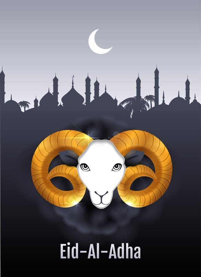 Cartolina d'auguri del testo di Eid al Adha Testa della ram dell'oro delle pecore Festività del sacrificio royalty illustrazione gratis