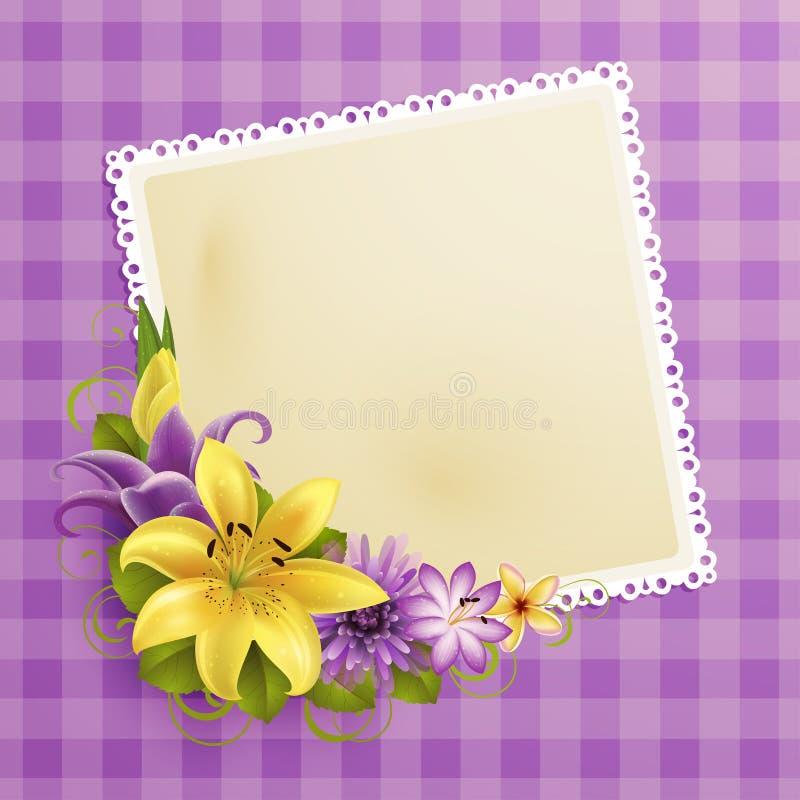 Cartolina d'auguri dell'annata con i fiori royalty illustrazione gratis