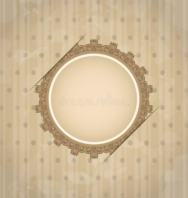 Cartolina d'auguri dell'annata con il medaglione floreale illustrazione di stock
