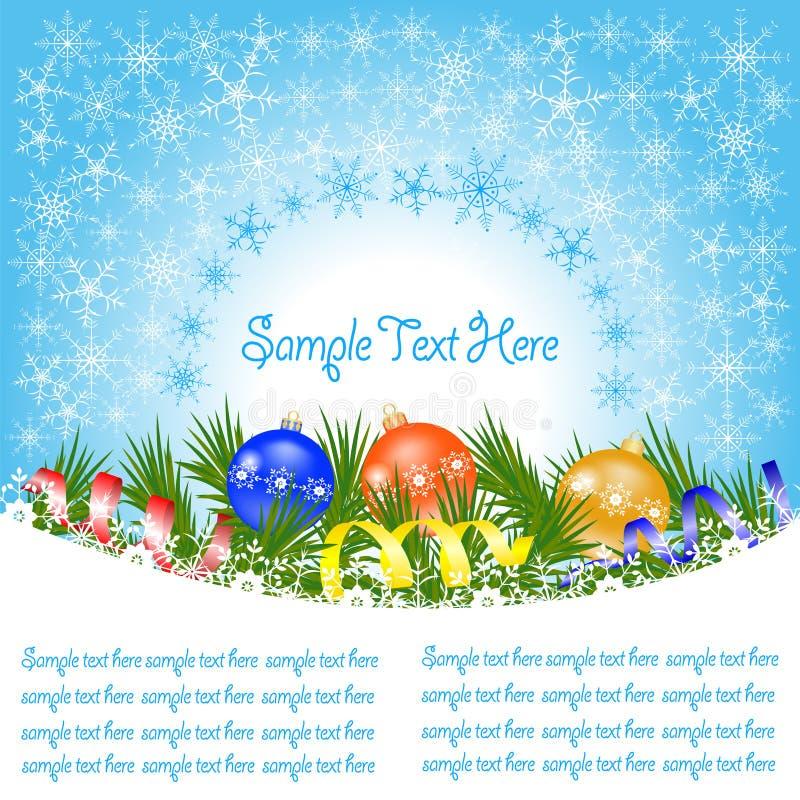 Cartolina d'auguri dell'insegna di Natale con i rami dell'abete rosso, fiocchi di neve, immagine stock libera da diritti