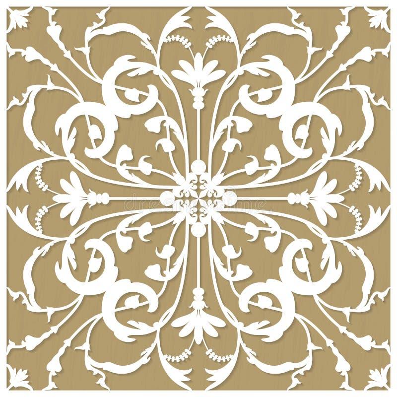 Cartolina d'auguri dell'invito o del modello con l'ornamento del fiore per il taglio del tracciatore e del laser Illustrazione di illustrazione vettoriale